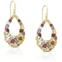 Dolce Giavonna Gold Over Sterling Silver Multi Gemstone Teardrop Earrings