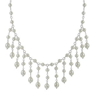 Sterling Silver White Freshwater Pearl 18-inch Bib Necklace (6-9 mm)