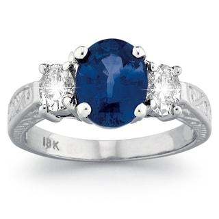 18k White Gold Sapphire and 3/5ct TDW Diamond Ring (G-H, SI1-SI2)