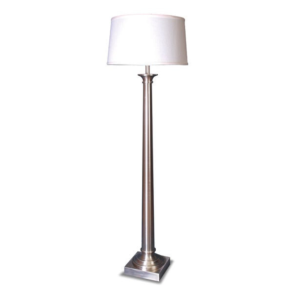 Mr. Lamp and Shade #QF-1638 60-inch Satin Nickel Tapered Column Metal Floor Lamp