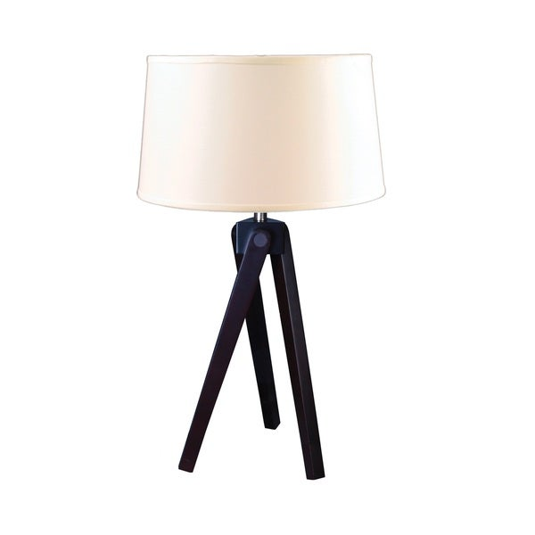 Mr. Lamp and Shade # QT to 1645 28-inch Espresso Wood Tripod Table Lamp