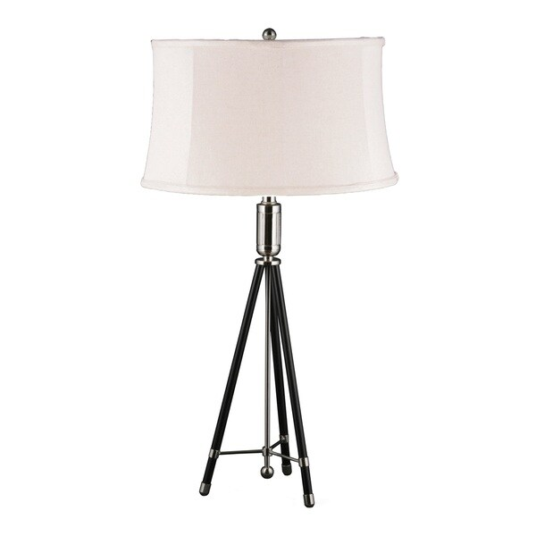Mr. Lamp and Shade #QT-6995 31-inch Polished Nickel and Black Tripod Metal Table Lamp