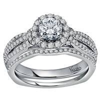 Valina Designer 14k White Gold 1 1/10ct TDW White Diamond Bridal Set