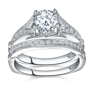 Valina 14k White Gold 1 3/8ct TDW Round-cut White Diamond Bridal Ring Set