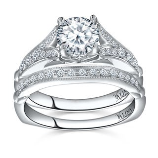 Valina 14k White Gold 1 3/8ct TDW Round-cut White Diamond Bridal Ring Set
