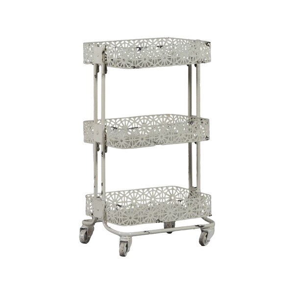 linon cream metal 3 tier cart free shipping today furniture collapsible folding utility cart with wheels