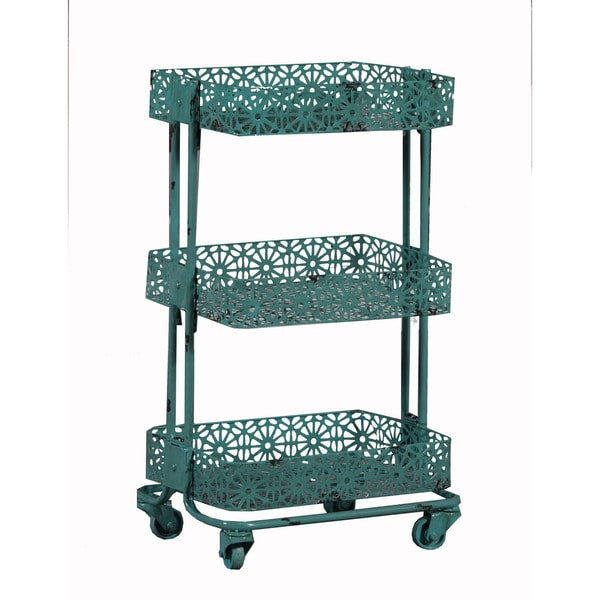 Shop Linon Turquoise Metal 3 Tier Cart Free Shipping Today