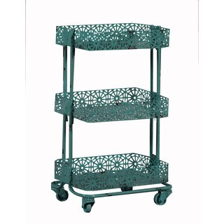 Linon Turquoise Metal 3-tier Cart