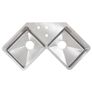 Ticor TR1400BG 45-inch 16-gauge Double Bowl Corner Butterfly Kitchen Sink