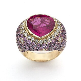 Neda Behnam 18k Rose Gold 1 1/5ct TDW Diamond, Pink Sapphire and Tourmaline H