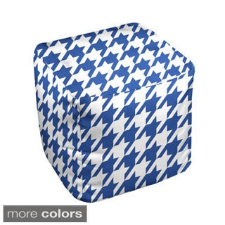 13-inch Square Two-tone Large Houndstooth Print Decorative Pouf