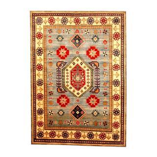 Herat Oriental Afghan Hand-knotted Tribal Kazak Blue/ Beige Wool Rug (5'6 x 7'9)