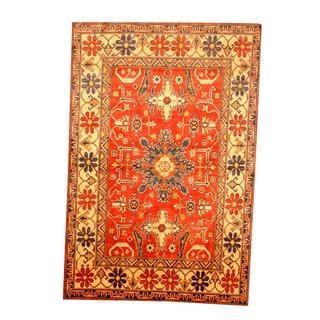 Herat Oriental Afghan Hand-knotted Tribal Kazak Rust/ Tan Wool Rug (5'10 x 8'8)