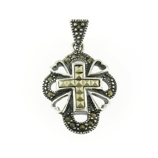 Handmade Sterling Silver and Marcasite Cross Pendant (Thailand)