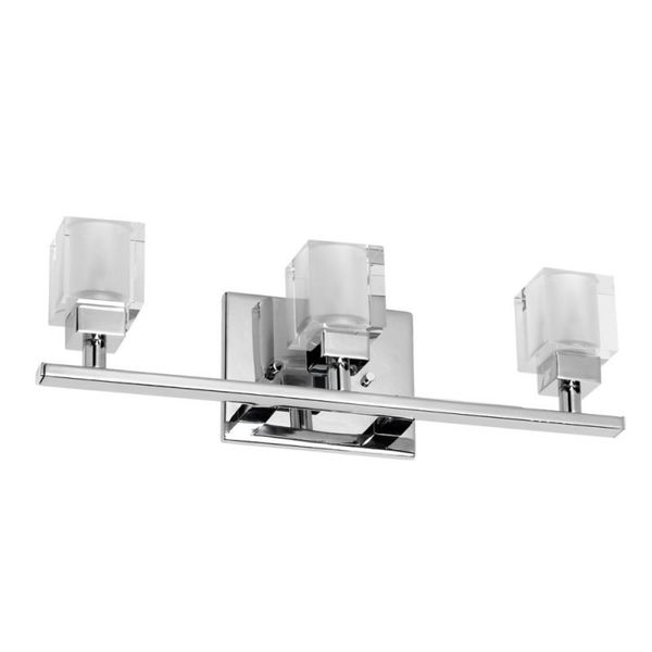 Moen Yb8863ch 90 Degree Chrome Vanity Light Bathroom Lighting: Chrome Cube Crystal 3-light Vanity Fixture