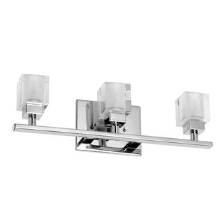 Chrome Cube Crystal 3-light Vanity Fixture