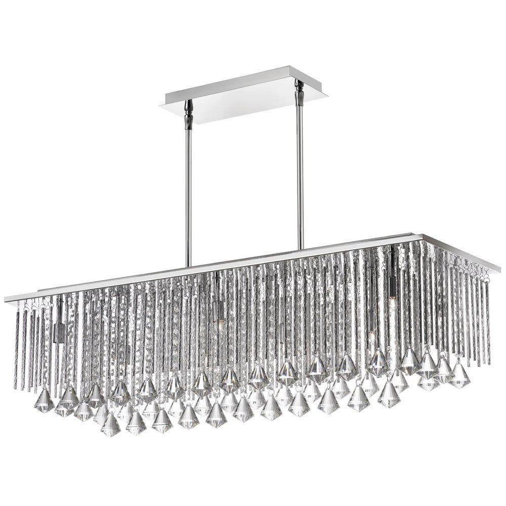 Jacqueline Crystal and Organza 10-light Horizontal Chandelier - Polished chrome (Less than 60 Watts)