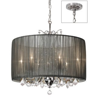 Tiara Silver Organza and Polished Chrome 5-light Crystal Chandelier