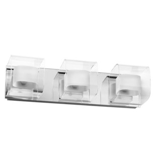 3-light Polished Chrome Curved Clear/ Frosted Glass Vanity Fixture