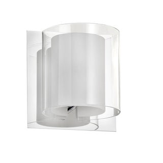 Dainolite 1-light Polished Chrome Clear and Frosted White Glass Sconce