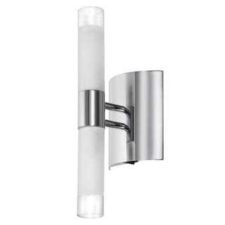 2-light Polished Chrome/ White Frosted Glass Tubular Wall Sconce