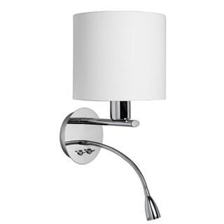 Polished Chrome/ White Fabric Wall Sconce with Gooseneck LED Reading Lamp