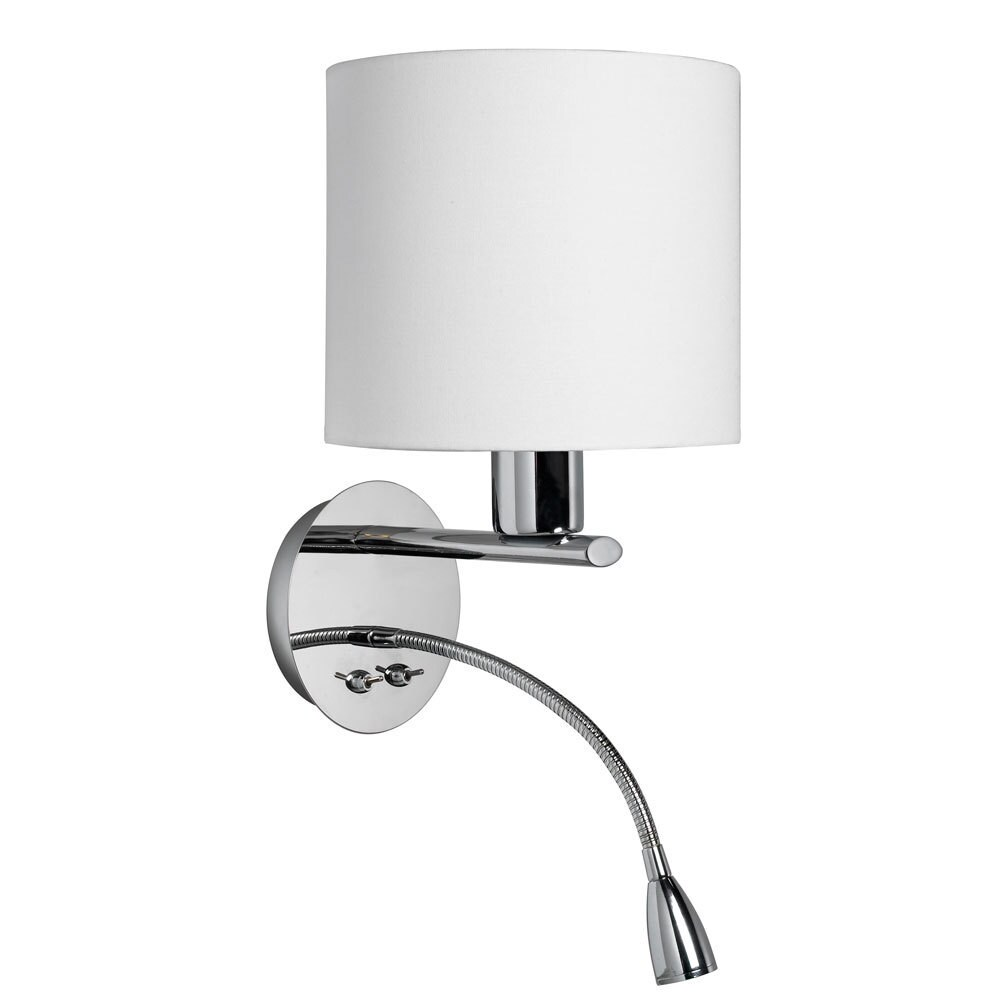 White Fabric Wall Sconce With Gooseneck