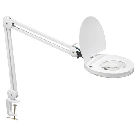 Glossy White Fluorescent 5D Lens Magnifier Lamp