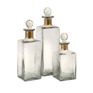 Hampshire Etched Decanters (Set of 3)