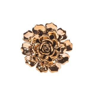 Metallic Small Ceramic Wall Flower