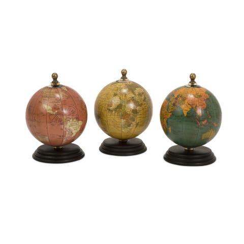 Antique Finish Mini Globe on Wood Base (Set of 3)