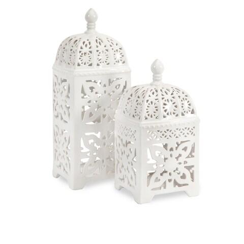 Maison Rouge Armour Ceramic T-light Lantern (Set of 2)