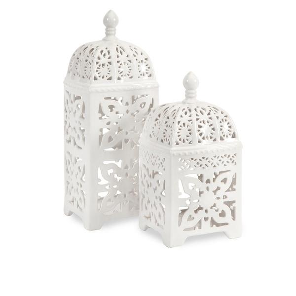 Maya Ceramic T-light Lantern (Set of 2)