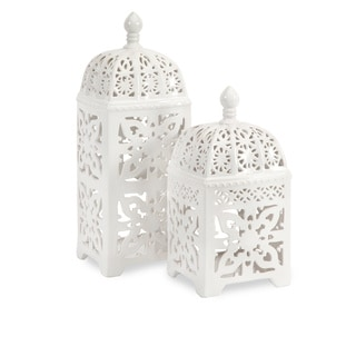Maya Ceramic T-light Lantern (Set of 2)