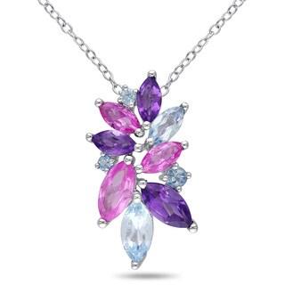 Miadora Sterling Silver 4ct TGW Multi-gemstone Flower Necklace