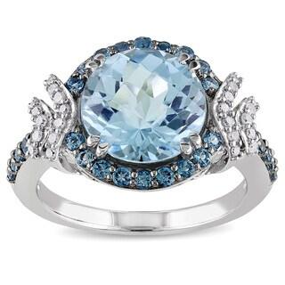 Miadora Silver Blue Topaz and 1/8ct TDW Diamond Ring (H-I, I2-I3)