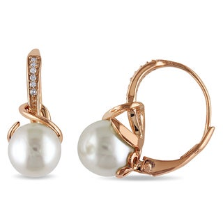 Miadora Rose Plated Silver Cultured Pearl and Diamond Accent Earrings (8-8.5 mm)