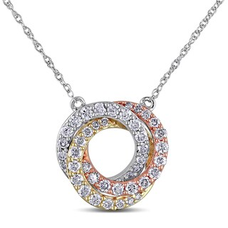 Miadora 10k Tri-color Gold 1/2ct TDW Diamond Circle Necklace