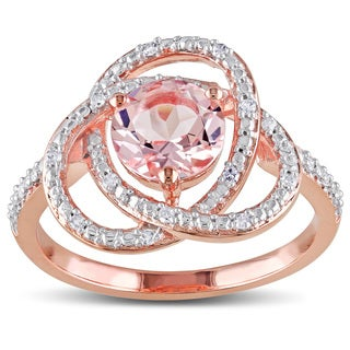 Miadora Rose Goldplated Silver 1ct Morganite and 1/10ct TDW Diamond Ring (H-I, I2-I3)