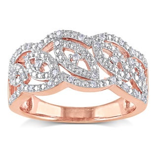 Miadora Rose Plated Silver 1/5ct TDW Diamond Fashion Ring