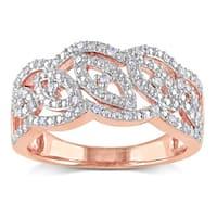 Miadora Rose Plated Silver 1/5ct TDW Diamond Fashion Ring