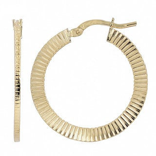 Fremada 10k Yellow Gold 2x20 Mm Textured Round Hoop Earrings