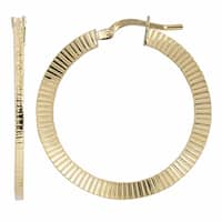 Fremada 10k Yellow Gold Textured Round Hoop Earrings