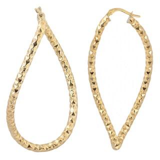 Fremada 10k Yellow Gold Diamond-cut Twist Elongated Hoop Earrings