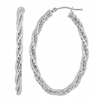 Fremada 10k White Gold Bold Braided Elongated Hoop Earrings