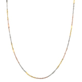 Fremada 10k Tri-tone Gold Italian Singapore Chain with Flat Stations Necklace (18 or 20 inch)