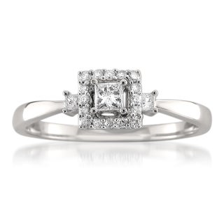 Montebello 14k White Gold 1/4ct TDW Princess-cut Diamond Ring
