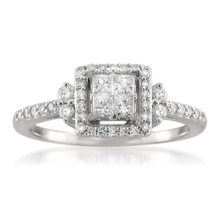 Montebello 14k White Gold 1/2ct TDW Princess Diamond Ring