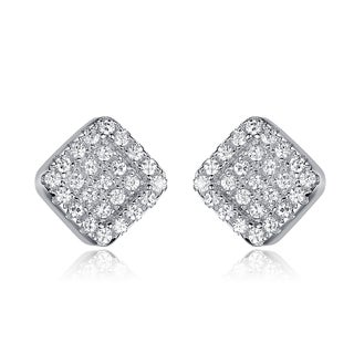 Collette Z Sterling Silver Cubic Zirconia Pave-set Square Stud Style Earrings