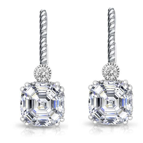 Collette Z Sterling Silver Cubic Zirconia Square Drop Earrings